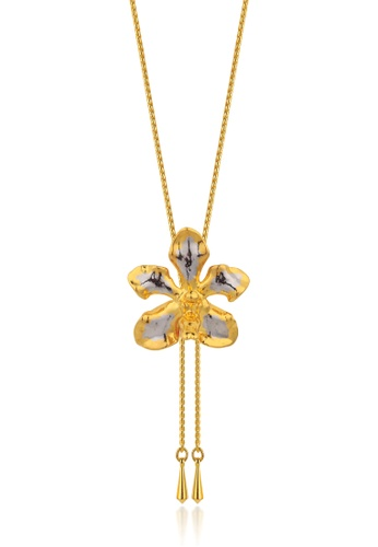 RISIS multi RISIS 24K Gold and Rhodium Plated Natural Vanda Limbata Orchid Slider 1F922ACA52ED6BGS_1