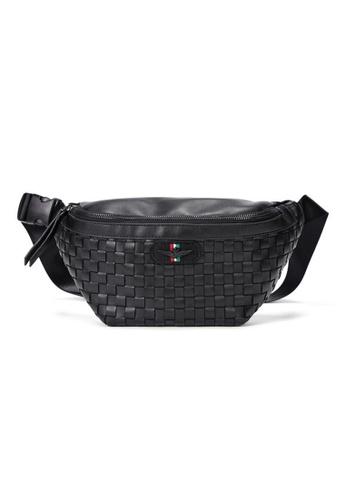 Lara 黑色 男士多功能大容量編織皮革單肩包胸包 - 黑色 1DA59AC90D7315GS_1