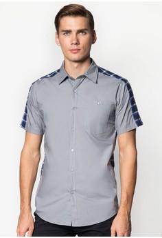 CN-Checkered Back Short Sleeve Shirt