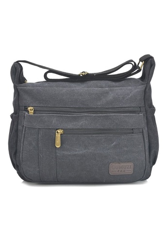 Jackbox black GMZ Korean Fashion Classic Canvas Messenger Bag Sling Bag 338 (Black) JA762AC35KDGMY_1