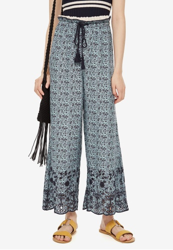 TOPSHOP blue Ditsy Crop Wide Trousers C3795AA554557AGS_1
