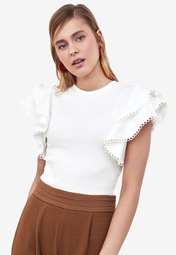 Trendyol white Frilly Sleeve Detail Top E3314AA721BA1BGS_1