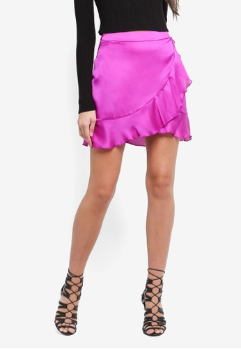 MISSGUIDED purple Dobby Wrap Frill Mini Skirt 2DDBDAAF50610FGS_1