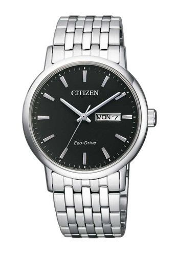 CITIZEN silver Citizen Eco-Drive Black and Silver Stainless Steel Watch 50151ACFD3C1B2GS_1
