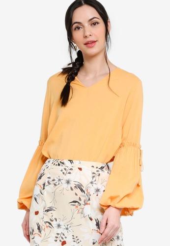 Zalia yellow Gathered Sleeves Top 514B7AAE91BB55GS_1