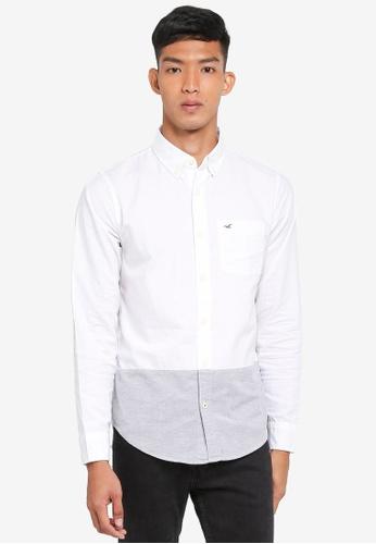 Hollister white Long Sleeve Oxford Blocking Shirt 6D4AFAAA31CE10GS_1