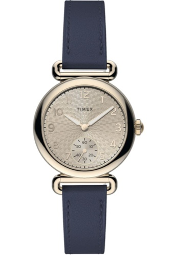 TIMEX blue and gold Timex Model 23 33mm - Gold-Tone Case, Blue Strap (TW2T88200) A7F0AAC30E398BGS_1