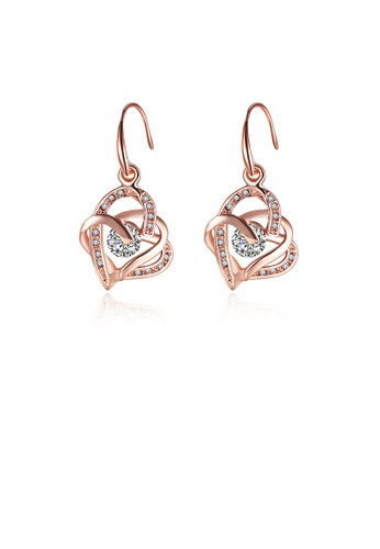 Glamorousky white Elegant and Romantic Plated Rose Gold Heart-shaped Earrings with Austrian Element Crystal C135AACB5369A7GS_1