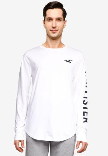 Hollister white Long Sleeve Iconic Print Tee 0777BAA5023658GS_1