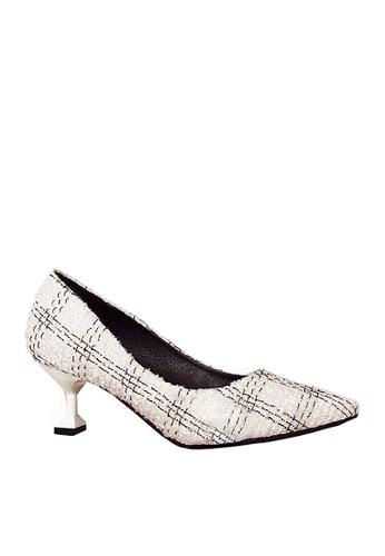 Twenty Eight Shoes 白色 格子布中跟鞋 VL28025 20B0FSH026AF8FGS_1