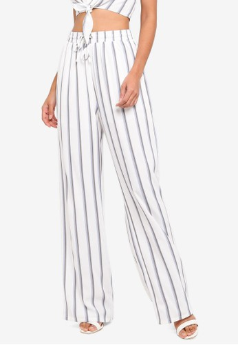Glamorous white Stripe Bow Wide Pants 8767DAAEF0D0A7GS_1