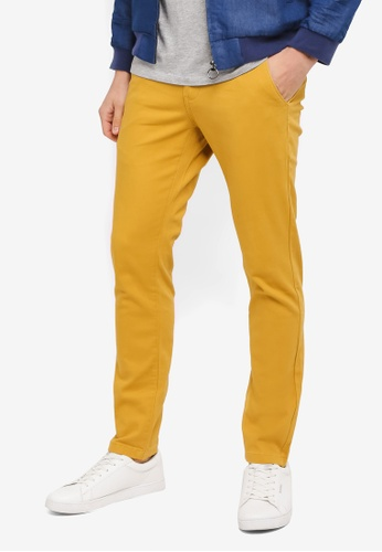 UniqTee yellow Slim Chinos With Striped Waistband UN097AA0SYTXMY_1