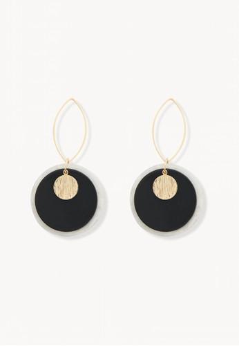 Pomelo black Oval Hoop Circular Plate Earrings - Black 13425AC1DFE5F8GS_1