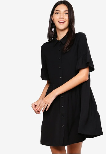ZALORA black Dropped Waist Button Down Dress 457BEAA9DEF52AGS_1