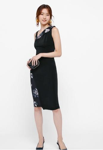 Love, Bonito black Shanley Printed Asymmetrical Shoulder Dress E72A7AABBA58CAGS_1