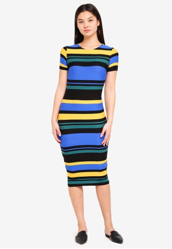 Dorothy Perkins blue Blue Striped Bodycon Dress 0F56EAAF3E4ED8GS_1