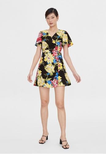 Pomelo black Side Button Up Floral Dress - Black D7DF0AA93901C8GS_1