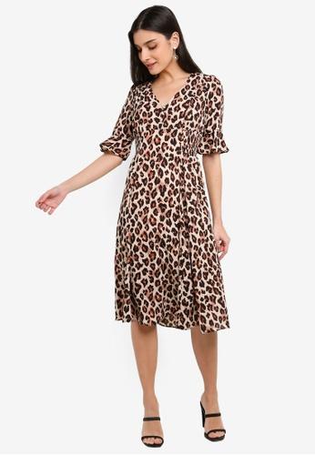 FORCAST brown Mandy Shirred Waist Dress 9242DAA2446847GS_1