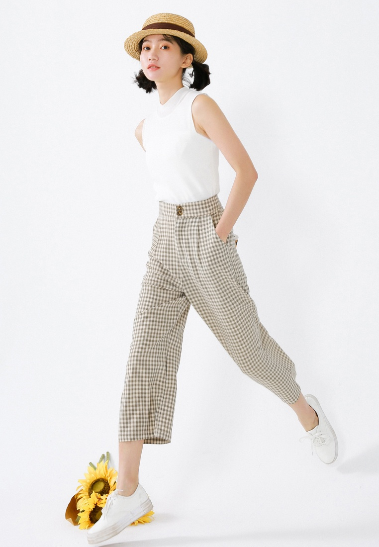 Cropped Pants Brown Checked White Shopsfashion xOFwqX7S8B