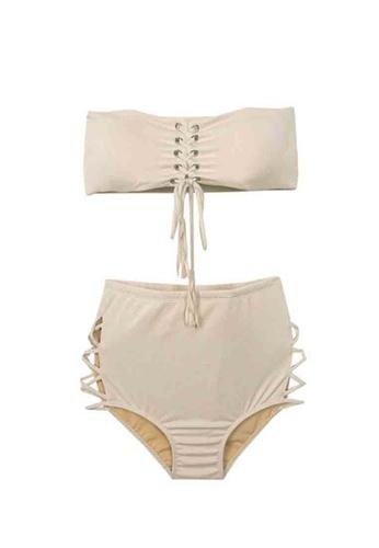 ZITIQUE beige Women's Strapless Two-piece Swimsuit - Beige 7B8E1USEEC7EA7GS_1