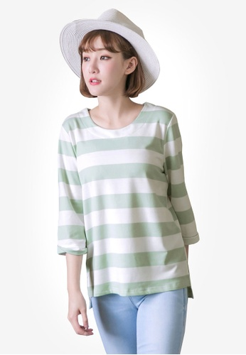 Tokichoi green and multi Striped Oversized Top A25D9AAF9D9D8CGS_1