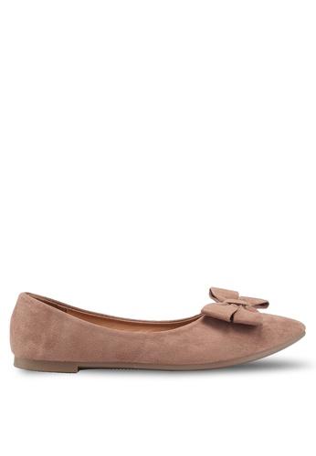 NOVENI brown Bow Suede Flats 91970SHC3B0964GS_1