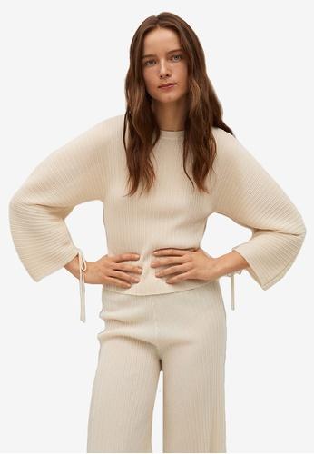 Mango beige Pleated Knit Sweater 9CE92AA0E8840CGS_1