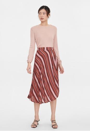 Pomelo red Striped Print Asymmetric Skirt - Red 3B522AA9C59977GS_1