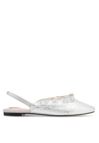Velvet silver Ruffle Ballet Flats 9EFEASHFAF614CGS_1