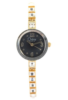 Gold Plate Dress Watch With Black Dial