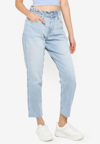 Hollister blue Ruffle Waist High Rise Mom Jeans F8C93AA52CDA39GS_1