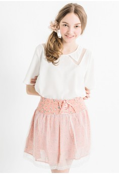 [IMPORTED] Lace-Up Floral Dainty Skirt