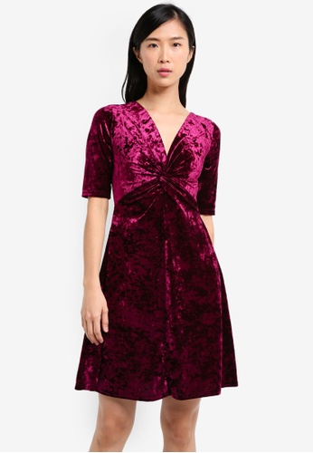 Dorothy Perkins purple Velvet Fit And Flare Dress DO816AA0SRDPMY_1
