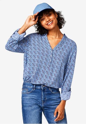 Esprit blue Woven Long Sleeve Shirt 3DE85AA32ED4C9GS_1