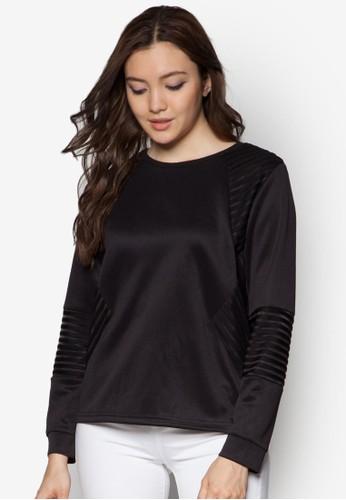 層疊條紋長袖衫,zalora 台灣門市 服飾, 上衣