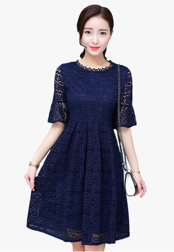 Halo blue S/S Full Lace Flared Sleeves Dress LI354AA33PZMSG_1