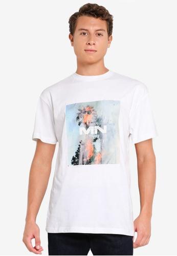 Mennace white Burning Palm Tree Regular T-Shirt C3FA1AAA6C7487GS_1
