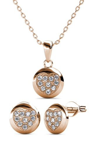 Her Jewellery gold Faith Heart Set (Rose Gold) - Embellished with Crystals from Swarovski® 7331DAC9716CB2GS_1