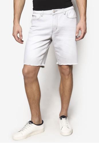 磨損下擺五分丹寧短褲, esprit專櫃服飾, 短褲