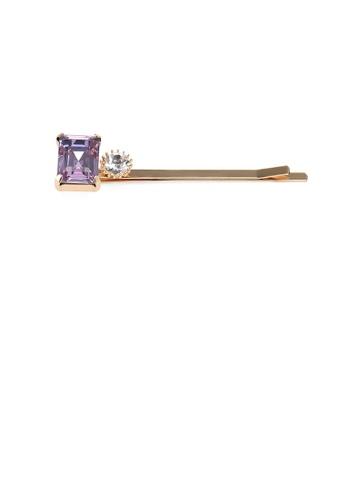 Glamorousky purple Simple Fashion Plated Gold Purple Cubic Zirconia Square Hair Clip 27F3DACA511E76GS_1