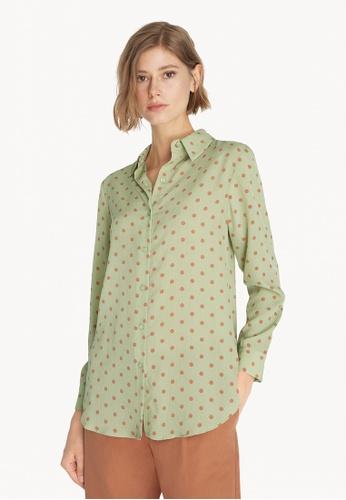 Pomelo green Polka Dot Textured Button Up Shirt - Green 79DB0AA77F19B0GS_1