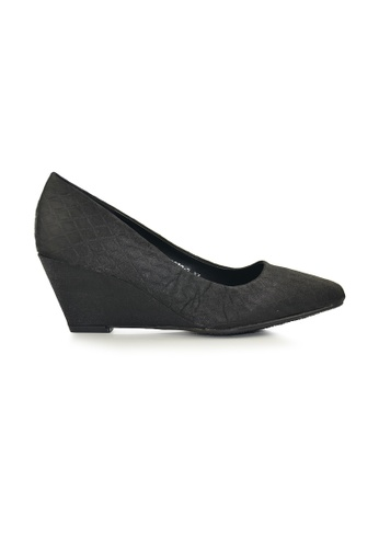 SHINE black Point Toe  Wedge Pumps SH554SH0FVELSG_1