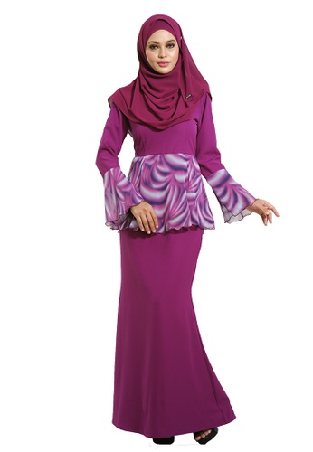 Baju Kurung Peplum from LARA NOUR in purple_1