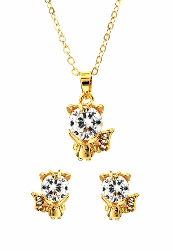 Venice Jewelry gold Venice Little Fox Necklace and Earrings Set VE564AC0IMD0PH_1