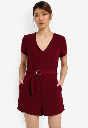 Something Borrowed red Relaxed Belted Romper A84D2AAC55794AGS_1