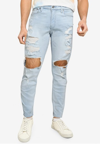 Hollister blue Icy Light Shred Skinny Jeans 061B1AA30CCD92GS_1