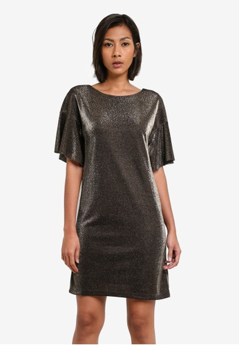WAREHOUSE gold Metallic Tunic Dress WA653AA0S7D0MY_1