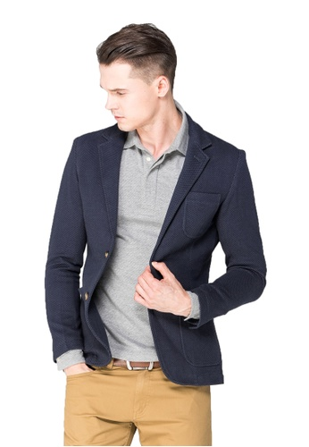 Chaps navy Chaps Deconstructed Woven Blazer  CH325AA0SAP5MY_1