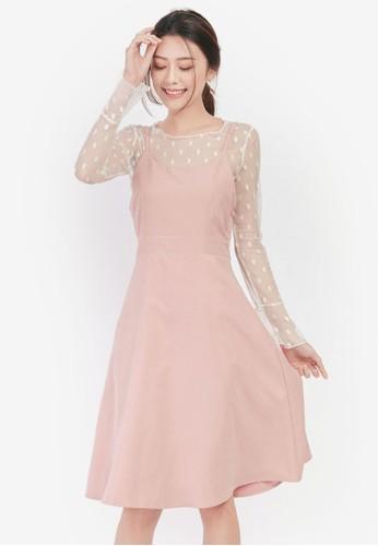 Yoco pink Two Piece Polka-Dot Dress 0FA62AAAABB8F9GS_1