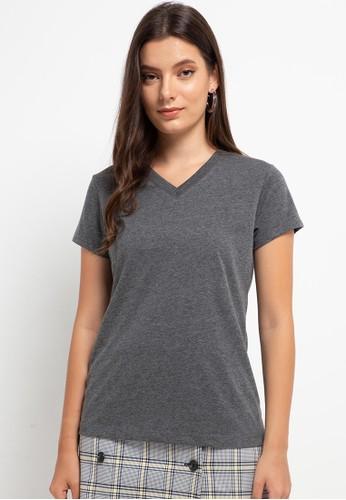 Tolliver grey V Neck Basic Short Sleeve Tee A1050AAC9E984FGS_1